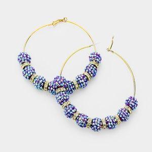 Jewelry - Purple & Gold Shamballa Disco Beads Hoop Earrings